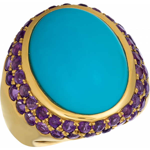 18kt Yellow Gold Bold Cabachon Ring with Turquoise and Amythyst