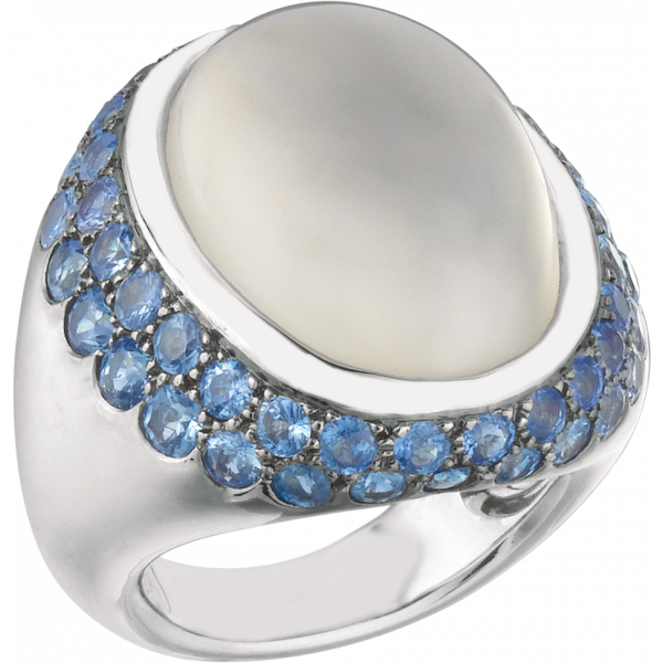 18kt White Gold Bold Cabachon Ring with Moonstone and Sapphrie