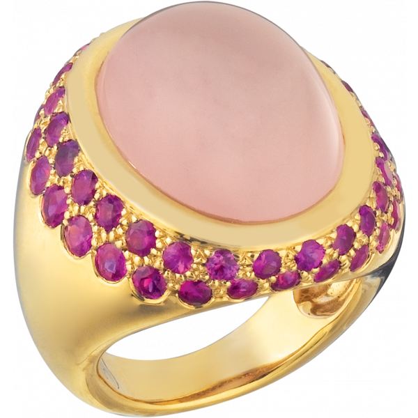 18kt Yellow Gold Bold Cabachon Ring with Rose Quartz and Pink Sapphire