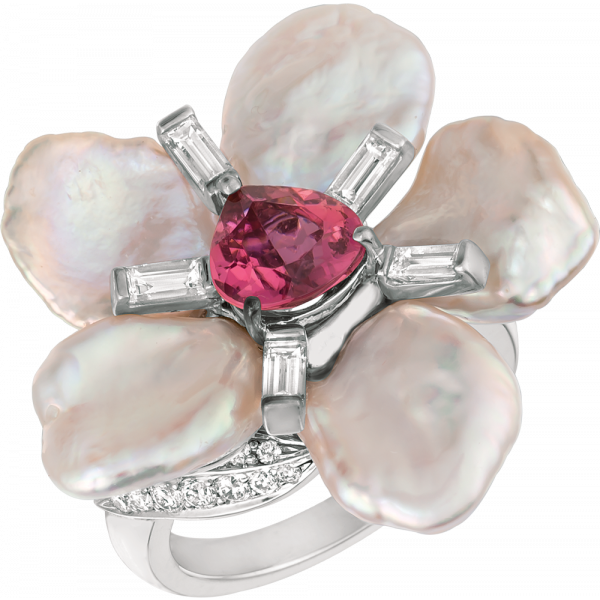 18kt White Gold and Keshi Pearl and Pink Tourmaline Flower Ring