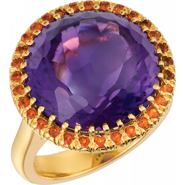 18kt Yellow Gold Carnevale Ring with Amythyst and Poppy Topaz