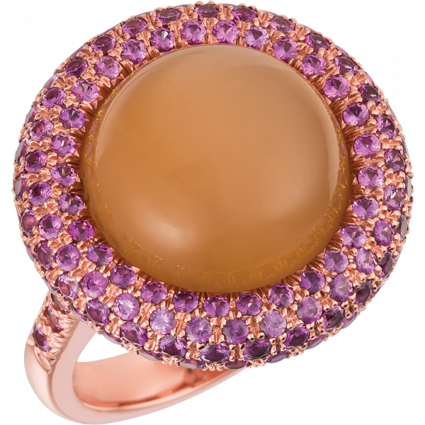 18kt Rose Gold Turban Ring with interchangeable Cetner Cabachon