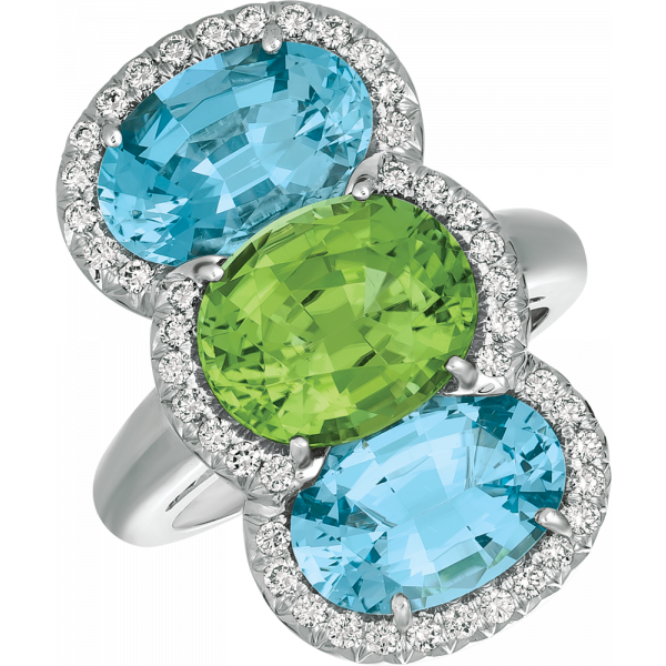 18kt White Gold Bold Oval Ring in Aquamarine and Peridot