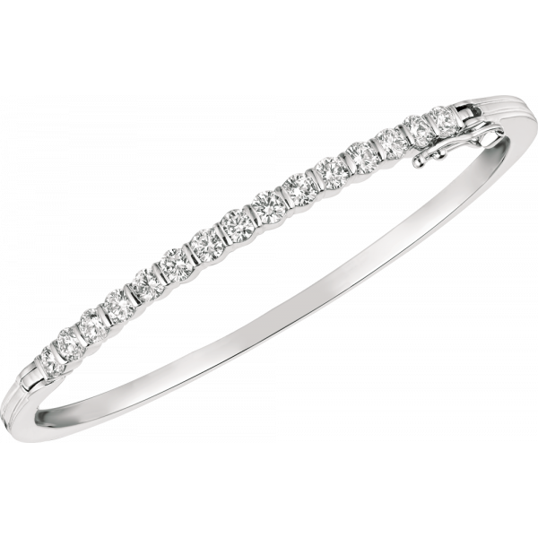 18kt White Gold Gemlok Diamond Bangle