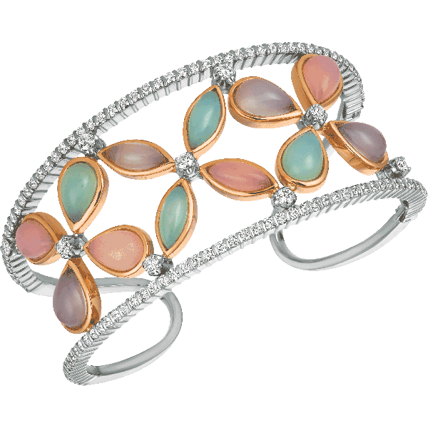 18kt White and Rose Gold Chalcedony Cabachon Winsome Bangle