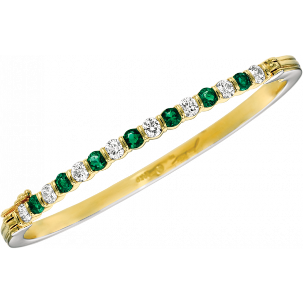 18kt Yellow Gemlok Diamond and Emerald Bangle