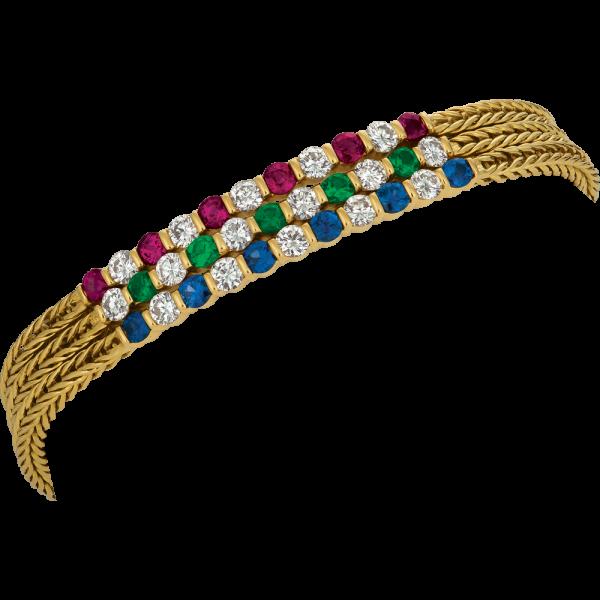 18kt Yellow Gold 3 Row Gemlok Diamond ,Ruby, Spphire and Emerald Bracelet