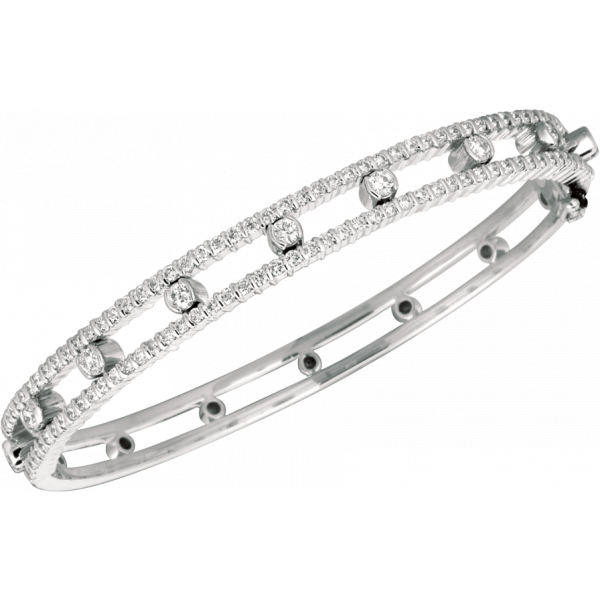 18kt White Gold Minilok Diamond Dot Part Way Bangle