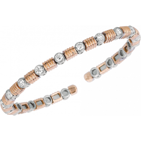 18kt Rose Gold and White Gold Les Bars D'Or Bangle