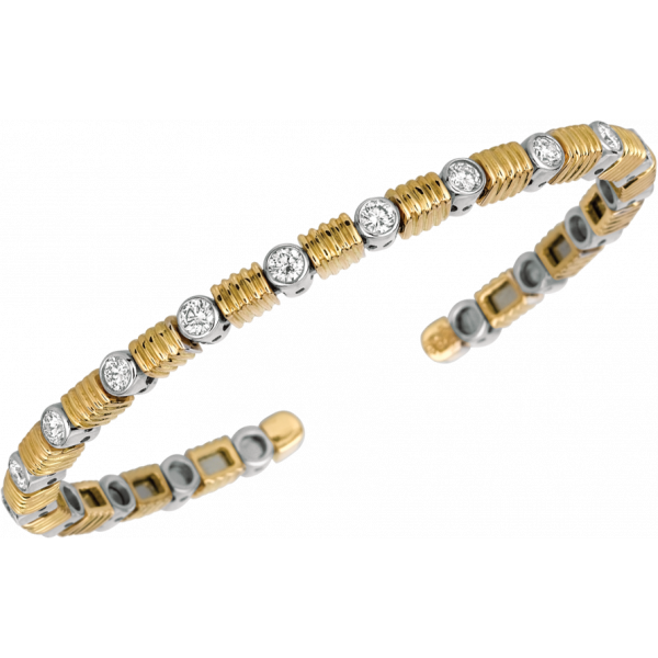 18kt Yellow Gold and White Gold Bars D'Or Bangle Bracelet