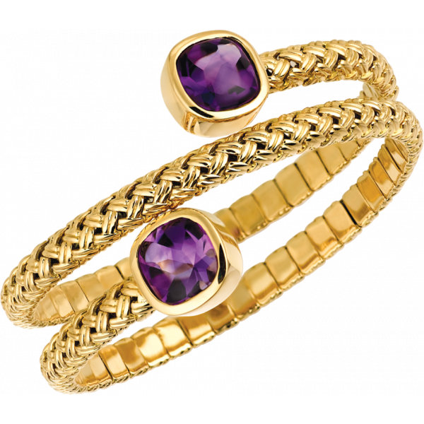 18kt Yellow Gold Vannerie Triple Spring Bracelet with Amythyst