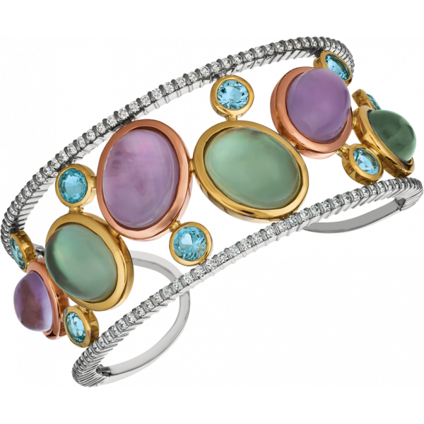 18kt White, Yellow and Rose Gold Diamond and Green and Purple Amythyst Cabochon Winsome Bangle