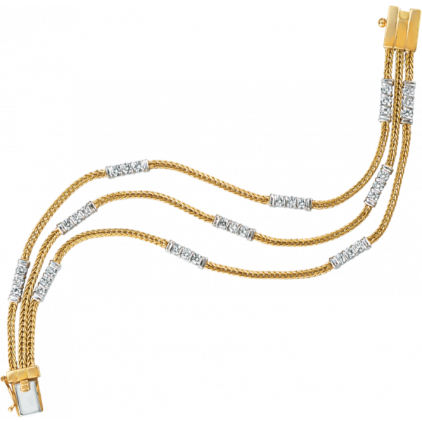 18kt Yellow Gold and Platinum Gemlok Foxtail 3 Row Diamond Accent Bracelet