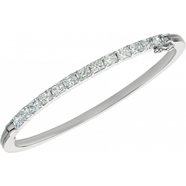 18kt White Gold Prong Set Radiant Diamond Bangle