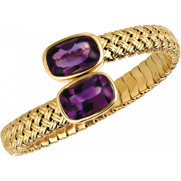 18kt Yellow Gold Vannerie Spring Bracelet with Amythyst Cabachons