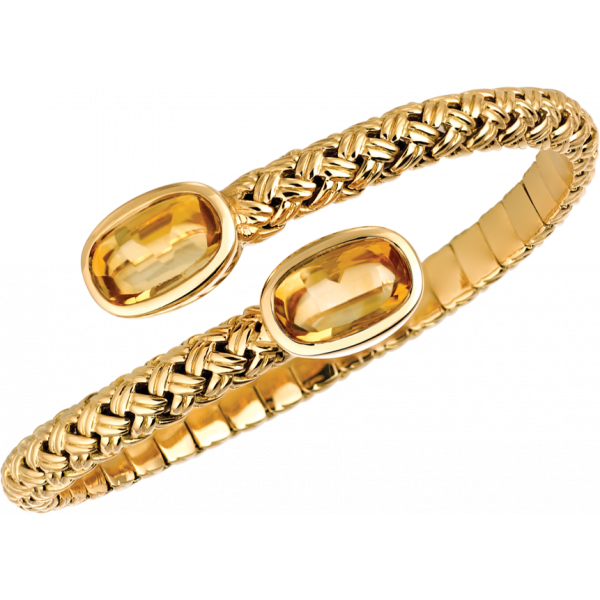 18kt Yellow Gold Vannerie Spring Bracelet with Citrine Cabachons