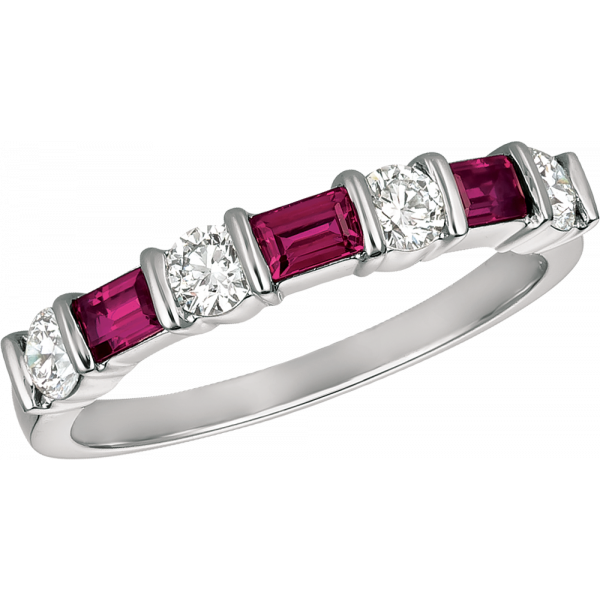 18kt Yellow Gold Gemlok Baguette and Round Diamond and Ruby 7 Stone Ring