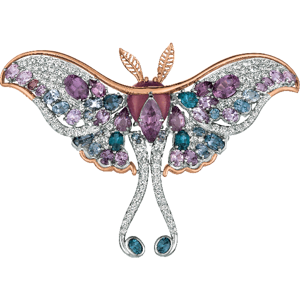 18kt White and Rose Gold Diamond and Purple Spinel Luna Moth