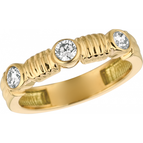 18kt Yellow Gold Bar D'or 3 Stone Ring