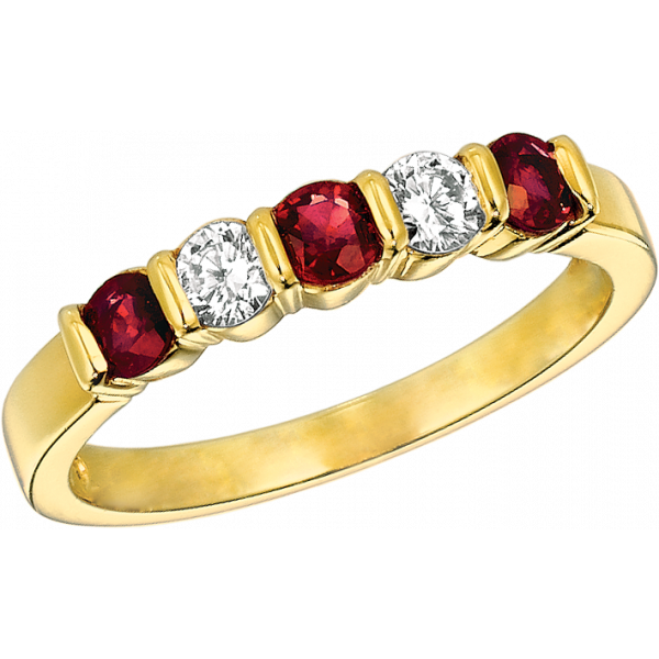 18kt Yellow Gold Gemlok 5 Stone Diamond and Ruby Ring