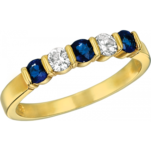 18kt Yellow Gold Gemlok 5 Stone Diamond and Sapphire Ring