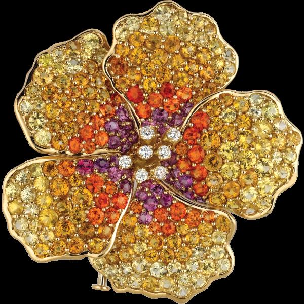 18kt Yellow Gold Wine Sapphire and Mandarin Garnet and Yellow Sapphire Hibiscus Pin