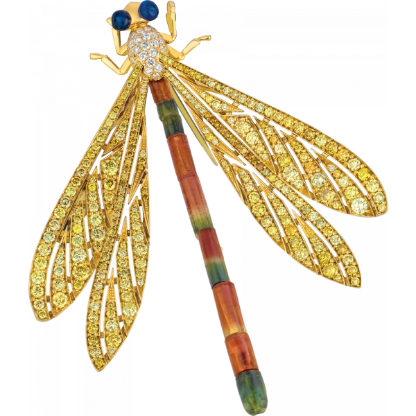 18kt Yellow Gold Yellow Diamond and Watermelon Tourmaline Damsel Fly Pin