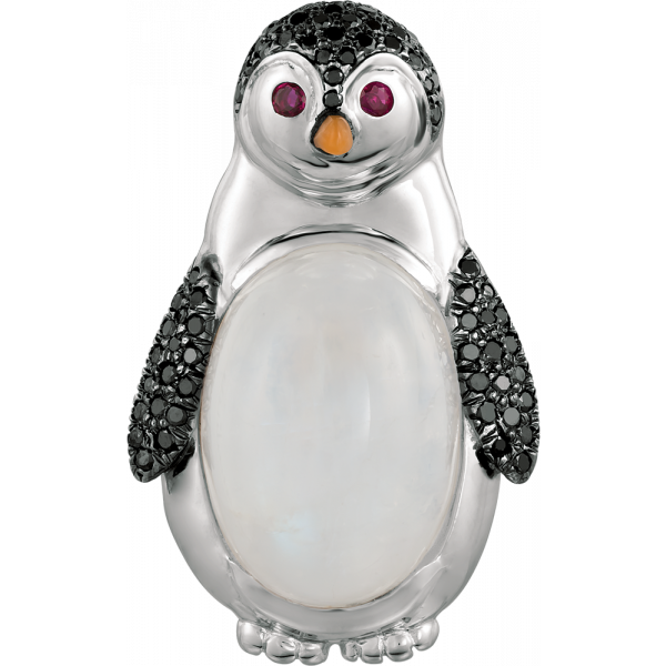 18kt White Gold and Moostone White and Black Diamond Penguin