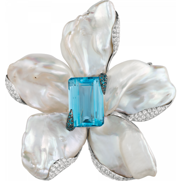 18kt White Gold and Natural Baroque Pearl Flower Pin with Gem Aquamarine Center