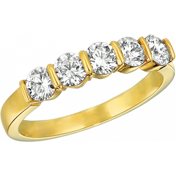 18kt Yellow Gold Gemlok 5 Stone Ring