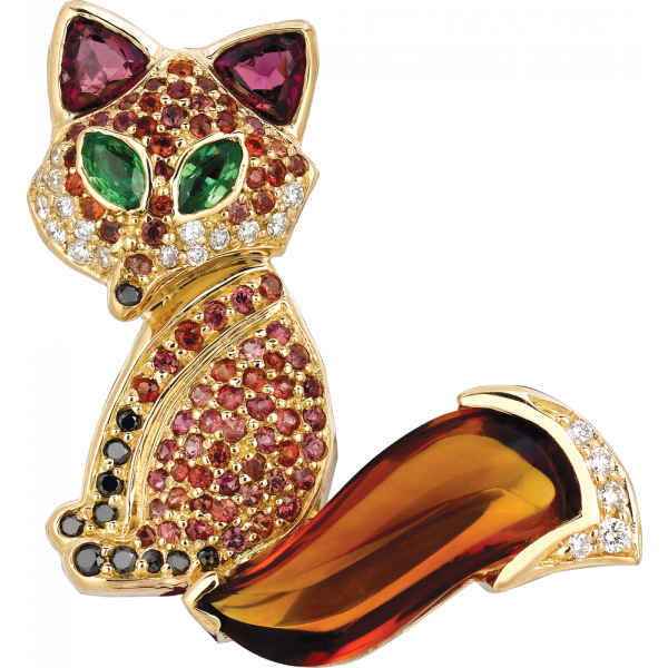 18kt Yellow Gold Citrine and Orange Sapphire Sitting Fox Pin
