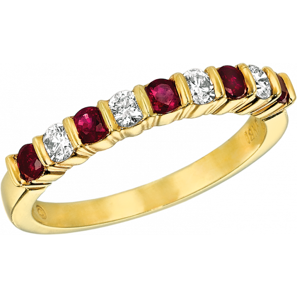 18kt Yellow Gold Gemlok 9 Stone Diamond and Ruby Ring