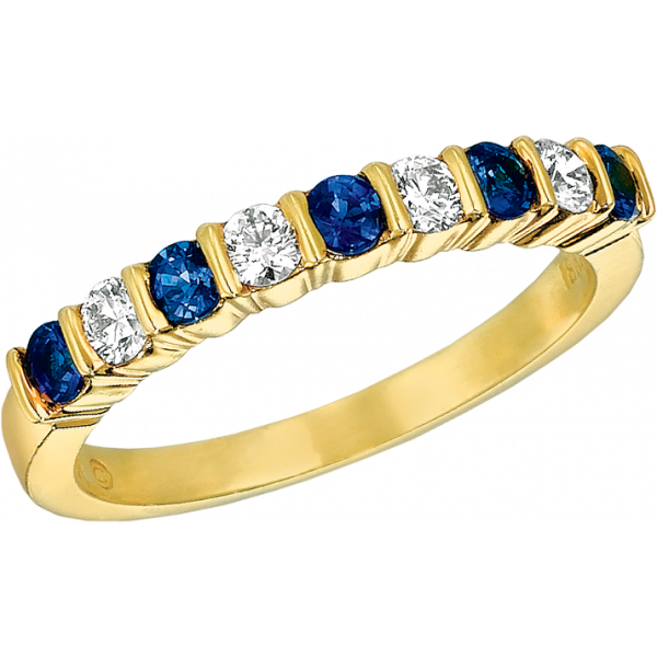 18kt Yellow Gold Gemlok 9 Stone Diamond and Sapphire Ring