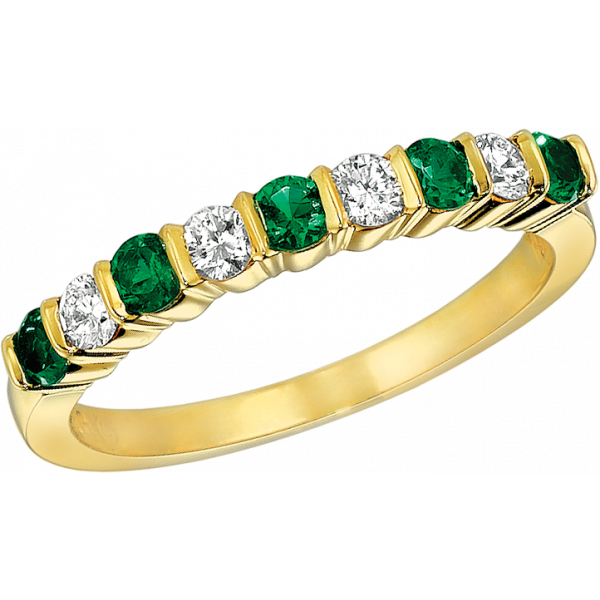 18kt Yellow Gold Gemlok 9 Diamond and Emerald Ring