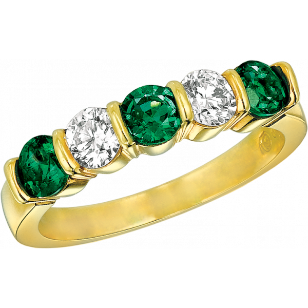 18kt Yellow Gold Gemlok 5 Stone Diamond and Emerald Ring