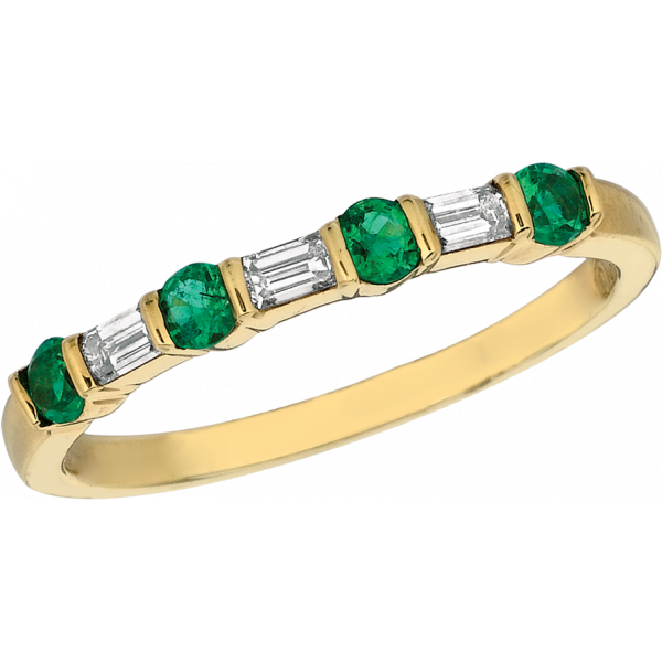 18kt Yellow Gold Gemlok Baguette and Round Diamond and Emerald 7 Stone Ring