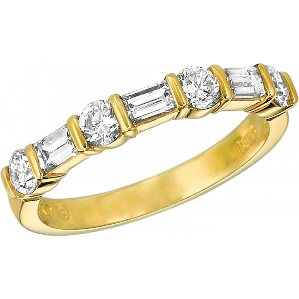 18kt Yellow Gold Gemlok Baguette and Round Diamond 7 Stone Ring