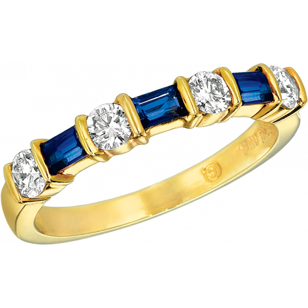 18kt Yellow Gold Gemlok Baguette and Round Diamond and Sapphire 7 stone Ring