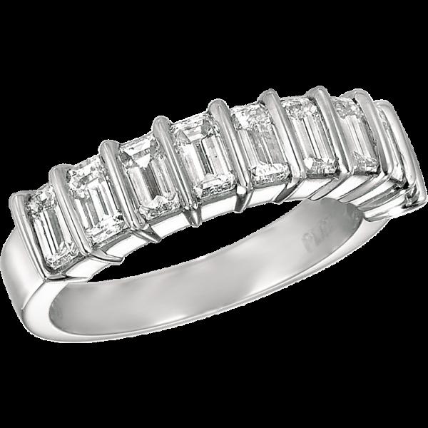 Platinum Gemlok Emerald Cut 7 Stone Ring
