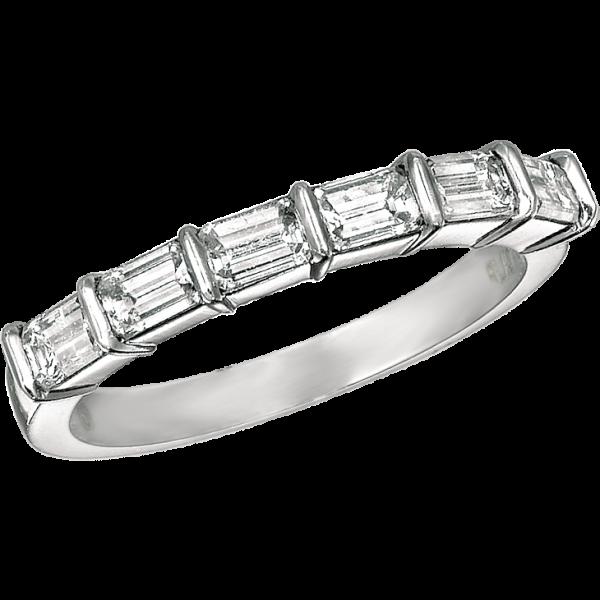 Platinum Gemlok Emerald Cut 6 Stone Ring