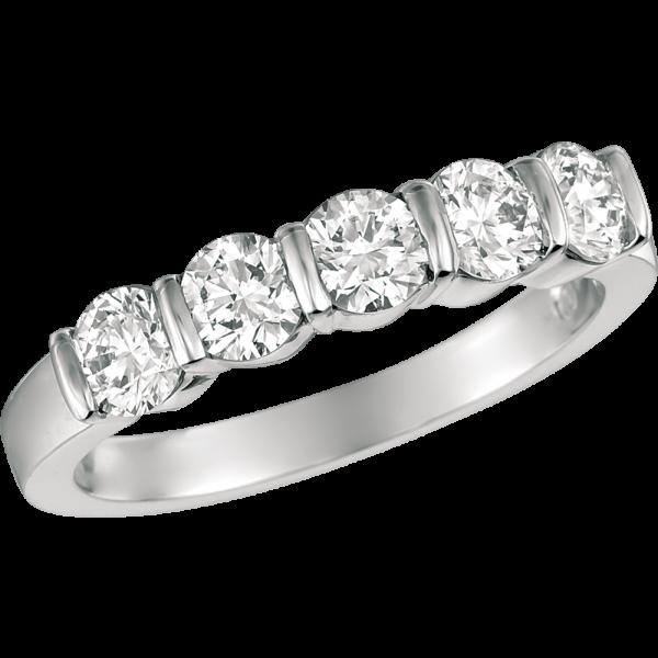 Platinum Gemlok 5 Stone Ring