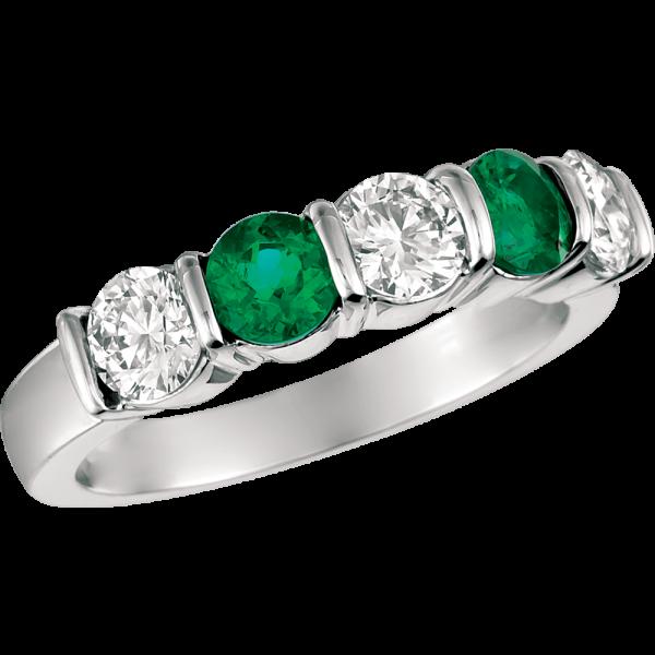 Platinum Gemlok 5 Stone Diamond and Emerald Ring