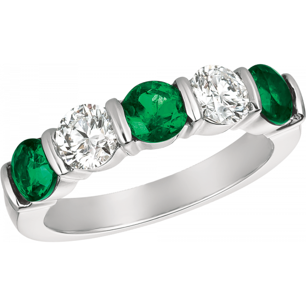Platinum Gemlok 5 Stone Diamond and Emerald Ring