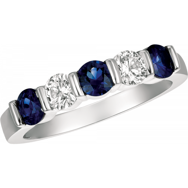 Platinum Gemlok 5 Stone Diamond and Sapphire Ring