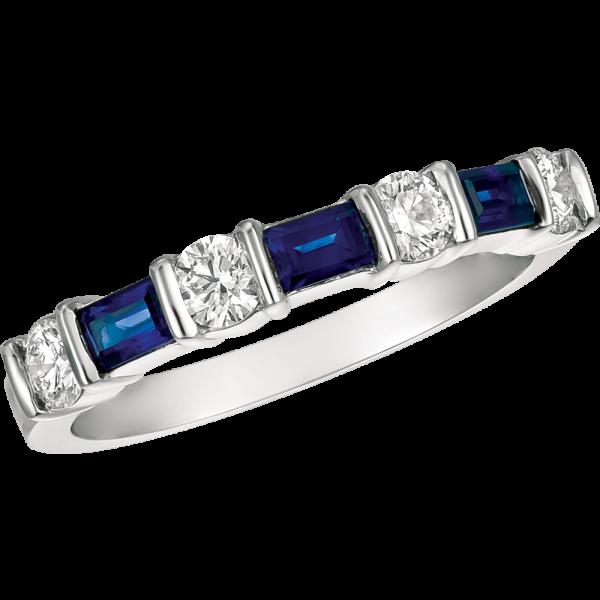 Platinum Gemlok Baguette and Round 7 Stone Ring