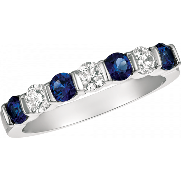 18kt Yellow Gold Gemlok 7 Diamond and Sapphire Ring