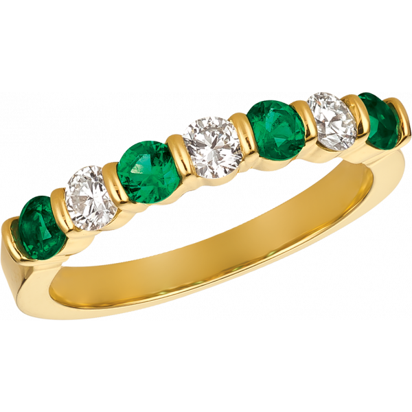 18kt Yellow Gold Gemlok 7 Stone Diamond and Emerald Ring