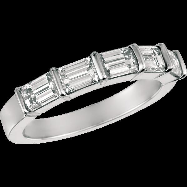 Platinum Gemlok Emerald Cut 5 Stone Ring