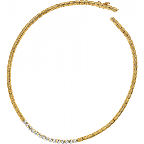 18kt Yellow Gold Bars D'Or 16 Diamond Necklace