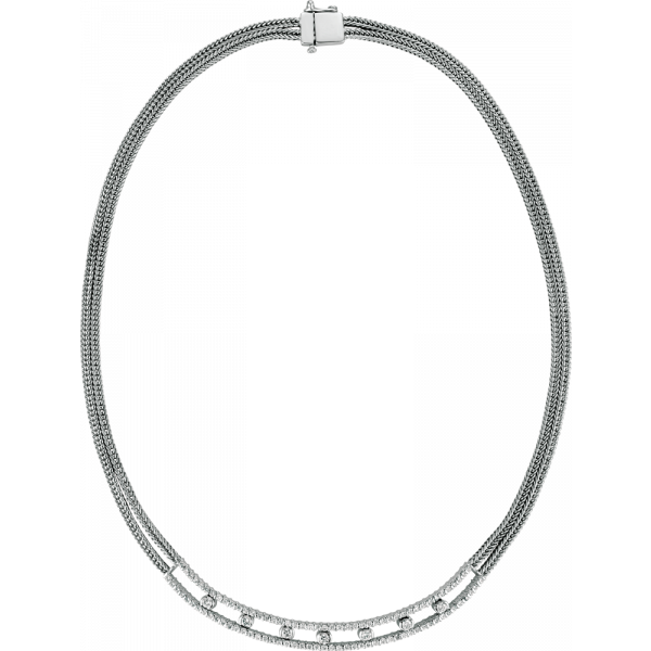 18kt White Gold Minilok Dot Necklace